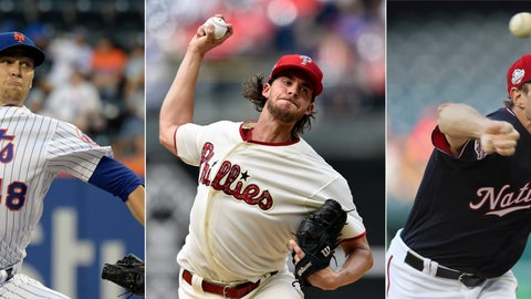 <p>               FILE - From left are 2018 file photos showing New York Mets pitcher Jacob deGrom,  Philadelphia Phillies pitcher Aaron Nola and Washington Nationals pitcher Max Scherzer. Jacob deGrom, Max Scherzer and Aaron Nola are going pitch for pitch in the NL Cy Young Award race. Baseball's advanced analytics think an MVP might be on the line between that trio, too.  (AP Photo/File)             </p>