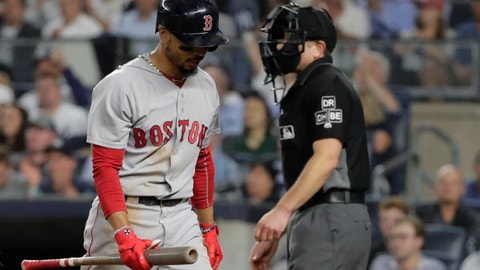 <p>               Boston Red Sox's Mookie Betts reacts after striking out during the fifth inning of the team's baseball game against the New York Yankees on Wednesday, Sept. 19, 2018, in New York. (AP Photo/Frank Franklin II)             </p>