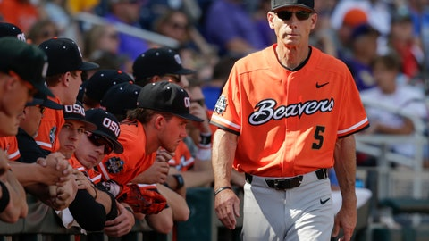 <p>               FILE - In this Saturday, June 24, 2017 file photo, Oregon State coach Pat Casey walks in front of the dugout in the ninth inning of an NCAA College World Series baseball elimination game against LSU in Omaha, Neb. Oregon State coach Pat Casey has announced his retirement after 24 seasons and three national championships with the team. (AP Photo/Nati Harnik)             </p>