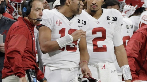 <p>               FILE - In this Jan. 8, 2018, file photo, Alabama quarterbacks Jalen Hurts (2) and Tua Tagovailoa (13) and head coach Nick Saban watch from the sideline during the second half of the NCAA college football playoff championship game against Georgia in Atlanta. (AP Photo/David J. Phillip)             </p>