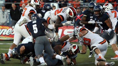<p>               Oregon State's Jermar Jefferson (22) scores during the second half of an NCAA college football game against Nevada, Saturday, Sept. 15, 2018, in Reno, Nev. (AP Photo/Lance Iversen)             </p>