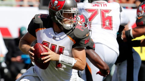 "<p>               FILE - In this Sunday, Sept. 16, 2018, file photo, Tampa Bay Buccaneers quarterback Ryan Fitzpatrick (14) rolls out during the second half of an NFL football game against the Philadelphia Eagles in Tampa, Fla. Miami Dolphins rookie safety Minkah Fitzpatrick wants to trademark his nickname but says he'd be happy to share it with Buccaneers quarterback Ryan Fitzpatrick. Both go by ""FitzMagic.""  (AP Photo/Mark LoMoglio, File)             </p>"