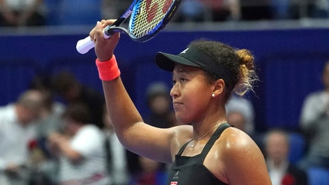 <p>               Naomi Osaka of Japan celebrates after defeating Barbora Strycova of the Czech Republic after the quarterfinal match of the Pan Pacific Open women's tennis tournament in Tokyo Friday, Sept. 21, 2018. (AP Photo/Eugene Hoshiko)             </p>