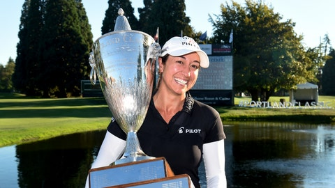 <p>               Marina Alex holds the trophy after winning the LPGA Cambia Portland Classic golf tournament in Portland, Ore., Sunday, Sept. 2, 2018. (AP Photo/Steve Dykes)             </p>