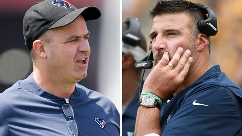 <p>               FILE  - From left are 2018 file photos showing Houston Texans head coach Bill O'Brien and Tennessee Titans head coach Mike Vrabel. Vrabel spent the past four seasons working as an assistant to Houston coach O'Brien, including as defensive coordinator in 2017. Now the men square off Sunday, Sept. 16, in the first of two games as rivals now that Vrabel is a rookie head coach with the Titans. (AP Photo/File)             </p>