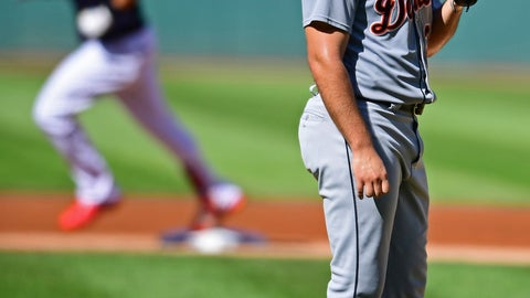 <p>               Detroit Tigers starting pitcher Michael Fulmer waits for Cleveland Indians' Michael Brantley to run the bases after hitting a solo home run in the first inning of a baseball game, Saturday, Sept.15, 2018, in Cleveland. (AP Photo/David Dermer)             </p>