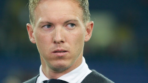 <p>               Hoffenheim coach Julian Nagelsmann looks on before the Group F Champions League soccer match between Shakhtar Donetsk and Hoffenheim at the Metalist Stadium in Kharkiv, Ukraine, Wednesday, Sept. 19, 2018. (AP Photo/Efrem Lukatsky)             </p>