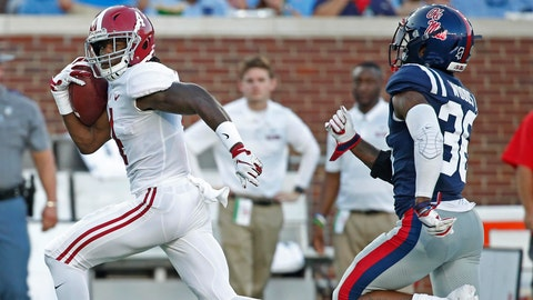 <p>               Alabama wide receiver Jerry Jeudy (4) runs past Mississippi defensive back Zedrick Woods (36) on his way to a 79-yard touchdown pass reception during the first half of their NCAA college football game on Saturday, Sept. 15, 2018, in Oxford, Miss. (AP Photo/Rogelio V. Solis)             </p>