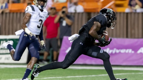 <p>               Navy cornerback Cameron Kinley (3) looks as Hawaii wide receiver Cedric Byrd (6) catches a pass for a touchdown in the second half of an NCAA college football game, Saturday, Sept. 1, 2018, in Honolulu. Hawaii beat Navy 59-41. (AP Photo/Eugene Tanner)             </p>
