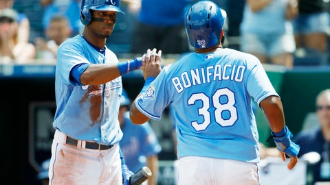 <p>               Kansas City Royals' Rosell Herrera (7) congratulates Jorge Bonifacio (38) after scoring in the third inning of a baseball game against the Baltimore Orioles at Kauffman Stadium in Kansas City, Mo., Sunday, Sept. 2, 2018. Bonifacio reached home plate from second on two errors by the Orioles. (AP Photo/Colin E. Braley)             </p>