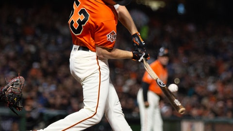 <p>               San Francisco Giants' Austin Slater (53) breaks his bat grounding out to short against the New York Mets during the seventh inning of a baseball game Friday, Aug. 31, 2018, in San Francisco. (AP Photo/D. Ross Cameron)             </p>