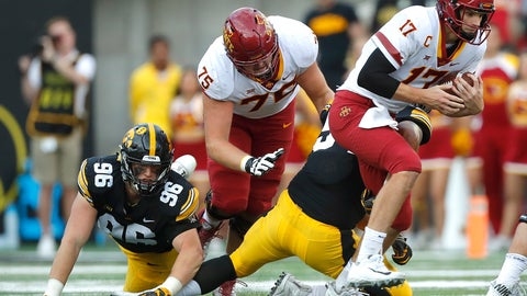 <p>               Iowa State quarterback Kyle Kempt, right, runs the ball during the second half of an NCAA college football game, Saturday, Sept. 8, 2018, in Iowa City, Iowa. Iowa won 13-3. (AP Photo/Matthew Putney)             </p>