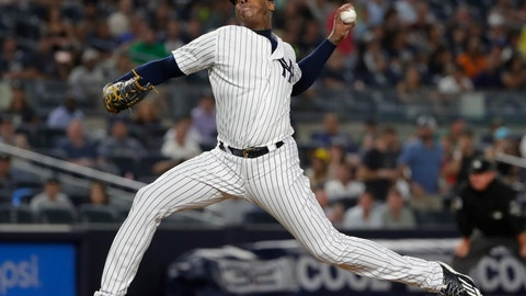 <p>               FILE - In this Aug. 14, 2018 file photo New York Yankees' Aroldis Chapman delivers a pitch during the ninth inning of a baseball game against the Tampa Bay Rays in New York. Chapman could return next week from nearly a month on the disabled list. He has not pitched since Aug. 21 because of left knee tendinitis, which has bothered him throughout the season. The 30-year-old left-hander threw a bullpen session Wednesday, Sept. 12, 2018 and was to return to New York for treatment. (AP Photo/Frank Franklin II, file)             </p>