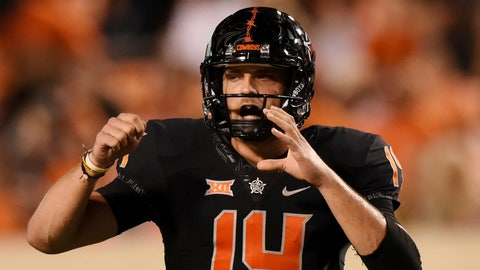 <p>               Oklahoma State quarterback Taylor Cornelius shouts to his team against South Alabama during an NCAA college football game in Stillwater, Okla., Saturday, Sept. 8, 2018. Cornelius had 428 yards in the 55-13 win over South Alabama. (AP Photo/Brody Schmidt)             </p>