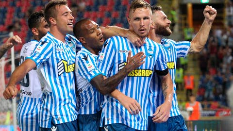 <p>               FILE -  This Sunday, Aug. 19, 2018 file photo shows Spal's Jasmin Kurtic, 2nd left, celebrating with teammates after scoring during the Serie A soccer match between Bologna and Spal, at the Dall'ara Stadium in Bologna, Italy.  Through four rounds, the Ferrara-based team sits second in the standings, behind only seven-time defending champion Juventus and ahead of Napoli, last year's runner-up, on goal difference. (Giorgio Benvenuti/ANSA via AP, )             </p>