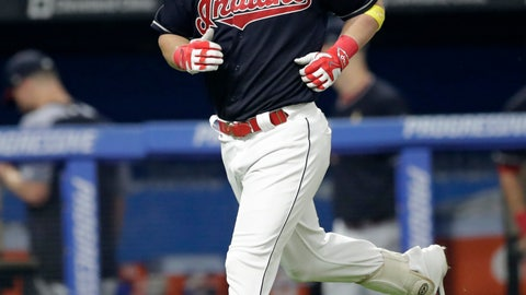 <p>               Cleveland Indians' Jason Kipnis runs the bases after hitting a solo home run off Tampa Bay Rays relief pitcher Chaz Roe in the ninth inning of a baseball game, Saturday, Sept. 1, 2018, in Cleveland. The Rays won 5-3. (AP Photo/Tony Dejak)             </p>