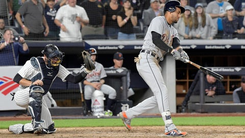 <p>               New York Yankees catcher Austin Romine, left, reacts as Detroit Tigers' Victor Reyes, right, strikes out to end a baseball game Friday, Aug. 31, 2018, at Yankee Stadium in New York. (AP Photo/Bill Kostroun)             </p>