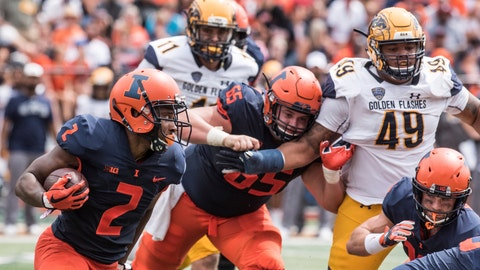 <p>               Illinois running back Reggie Corbin, left, runs the ball in the third quarter of an NCAA college football against Kent State in Champaign, Ill., Saturday, Sept. 1, 2018. (AP Photo/Holly Hart)             </p>