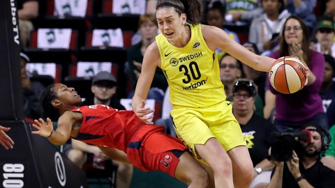 <p>               Washington Mystics' Ariel Atkins, left, tumbles backward after fouling Seattle Storm's Breanna Stewart (30) during the first half of Game 1 of the WNBA basketball finals Friday, Sept. 7, 2018, in Seattle. (AP Photo/Elaine Thompson)             </p>