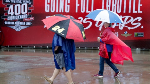 <p>               Fans walk under umbrellas as rain delayed track activity for NASCAR's Brickyard 400 at the Indianapolis Motor Speedway in Indianapolis, Saturday, Sept. 8, 2018. (AP Photo/Michael Conroy)             </p>