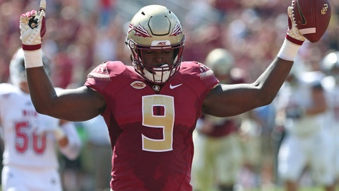 <p>               Florida State's Jacques Patrick celebrates catching a deflected pass for a touchdown in the first quarter of an NCAA college football game with Northern Illinois, Saturday, Sept. 22, 2018, in Tallahassee Fla. (AP Photo/Steve Cannon)             </p>