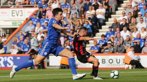 <p>               Bournemouth's Ryan Fraser, right, scores his side's second goal of the game during the English Premier League soccer match between Bournemouth and Leicester City at the Vitality Stadium, in Bournemouth, England, Saturday, Sept.  15, 2018. (Mark Kerton/PA via AP)             </p>