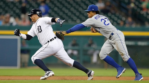 <p>               Detroit Tigers' Victor Martinez, left, is caught in a rundown by Kansas City Royals second baseman Adalberto Mondesi during the first inning of a baseball game Thursday, Sept. 20, 2018, in Detroit. (AP Photo/Carlos Osorio)             </p>