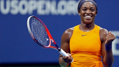 <p>               Sloane Stephens, of the United States, reacts after defeating Elise Mertens, of Belgium, during the fourth round of the U.S. Open tennis tournament Sunday, Sept. 2, 2018, in New York. (AP Photo/Adam Hunger)             </p>