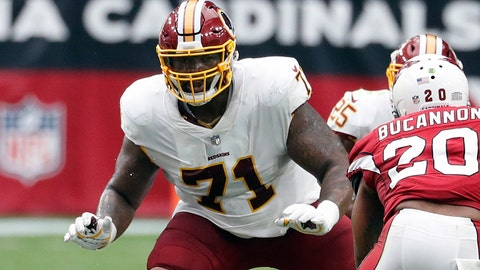 """<p>               FILE - In this Sept. 9, 2018, file photo, Washington Redskins offensive tackle Trent Williams (71) is shown in action during an NFL football game against the Arizona Cardinals, in Glendale, Ariz. A franchise known for the """"Hogs"""" offensive line from the Super Bowl era, the Washington Redskins might have another season-altering group in the trenches this season. Led by left tackle Trent Williams, Washington's """"Hogs 2.0"""" offensive line is a dream to play behind for running back Adrian Peterson and quarterback Alex Smith. (AP Photo/Rick Scuteri, File)             </p>"""