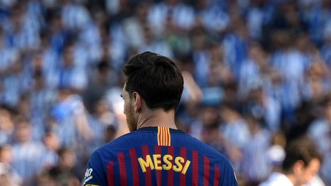 <p>               FC Barcelona's Lionel Messi pauses during the Spanish La Liga soccer match between Real Sociedad and FC Barcelona at the Anoeta stadium, in San Sebastian, northern Spain, Saturday, Sept. 15, 2018. (AP Photo/Jose Ignacio Unanue)             </p>