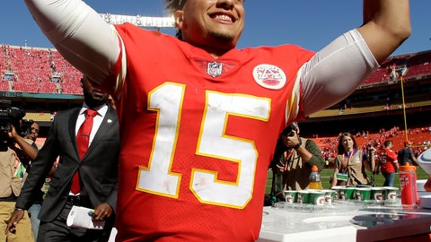 <p>               Kansas City Chiefs quarterback Patrick Mahomes (15) celebrates as he comes off the field after an NFL football game against the San Francisco 49ers Sunday, Sept. 23, 2018, in Kansas City, Mo. The Chiefs won 38-27. (AP Photo/Charlie Riedel)             </p>