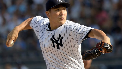 <p>               New York Yankees starting pitcher Masahiro Tanaka delivers the ball to the Detroit Tigers during the first inning of a baseball game Saturday, Sept. 1, 2018, at Yankee Stadium in New York. (AP Photo/Bill Kostroun)             </p>