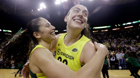 <p>               Seattle Storm's Breanna Stewart, right, is embraced by Sue Bird after the Storm defeated the Phoenix Mercury 94-84 during Game 5 of a WNBA basketball playoff semifinal, Tuesday, Sept. 4, 2018, in Seattle. The Storm advanced to the WNBA finals. (AP Photo/Elaine Thompson)             </p>