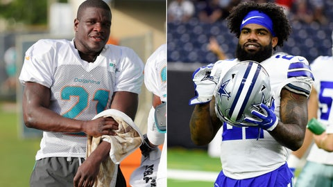 <p>               FILE - At left, in a July 30, 2018, file photo, Miami Dolphins running back Frank Gore towels off at the NFL football team's training camp, in Davie, Fla. At right, in an Aug. 30, 2018, file photo, Dallas Cowboys running back Ezekiel Elliott (21) warms up before a preseason NFL football game against the Houston Texans, in Houston. Ezekiel Elliott didn't play for the Dallas Cowboys in the preseason, and fellow running back Frank Gore barely did for Miami. Sitting stars in exhibitions raise the age-old balance of getting them ready for that first big hit while protecting important pieces for Super Bowl hopes. (AP Photo/File)             </p>