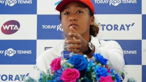 <p>               U.S. Open women's singles champion Naomi Osaka gestures during a press conference prior to the Pan Pacific Open tennis tournament in Tokyo Monday, Sept. 17, 2018. Osaka defeated Serena Williams of the U.S. on Saturday, Sept. 8, to become the first Grand Slam singles champion from Japan. (AP Photo/Eugene Hoshiko)             </p>