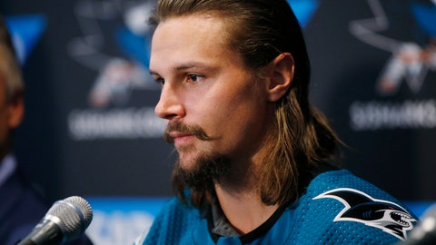 <p>               Newly acquired San Jose Sharks defenseman Erik Karlsson speaks to the media during a news conference in San Jose, Calif., Wednesday, Sept. 19, 2018. (AP Photo/Josie Lepe)             </p>