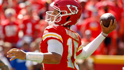 <p>               Kansas City Chiefs quarterback Patrick Mahomes (15) prepares to throw during the second half of an NFL football game against the San Francisco 49ers in Kansas City, Mo., Sunday, Sept. 23, 2018. (AP Photo/Charlie Riedel)             </p>