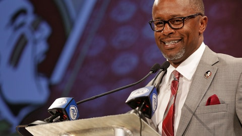 <p>               FILE - In this July 19, 2018, file photo, Florida State head coach Willie Taggart answers a question during a news conference at the Atlantic Coast Conference NCAA college football media day in Charlotte, N.C. Taggart grew up a Florida State fan and now that the 42-year old has his dream job of coaching the Seminoles. He is only the third Florida State coach since 1976, joining Bobby Bowden and Jimbo Fisher, who both won national titles.   (AP Photo/Chuck Burton, File)             </p>