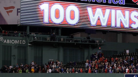 "<p>               ""100 Wins"" is posted on the outfield display after the Boston Red Sox defeated the Toronto Blue Jays 1-0 for their 100th win of the season after a baseball game at Fenway Park in Boston, Wednesday, Sept. 12, 2018. (AP Photo/Charles Krupa)             </p>"