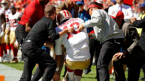 <p>               Trainers lift injured San Francisco 49ers quarterback Jimmy Garoppolo (10) who was hurt after a tackle by Kansas City Chiefs defensive back Steven Nelson during the second half of an NFL football game in Kansas City, Mo., Sunday, Sept. 23, 2018. (AP Photo/Charlie Riedel)             </p>