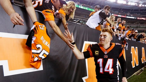 <p>               Cincinnati Bengals quarterback Andy Dalton (14) celebrates with fans after winning their NFL football game against the Baltimore Ravens, Thursday, Sept. 13, 2018, in Cincinnati. Bengals won 34-23. (AP Photo/Frank Victores)             </p>