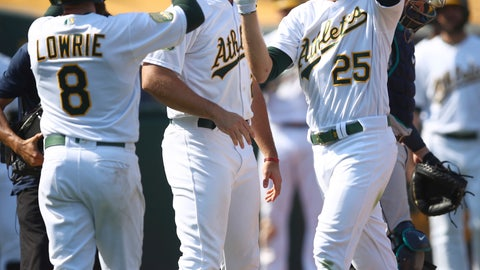 <p>               Oakland Athletics' Stephen Piscotty, right, celebrates with Jed Lowrie (8) after hitting a three-run home run against the Seattle Mariners in the eighth inning of a baseball game Sunday, Sept. 2, 2018, in Oakland, Calif. (AP Photo/Ben Margot)             </p>