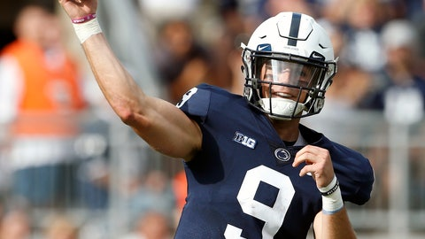 <p>               Penn State quarterback Trace McSorley (9) throws a pass against Appalachian State during the first half of an NCAA college football game in State College, Pa., Saturday, Sept. 1, 2018. (AP Photo/Chris Knight)             </p>