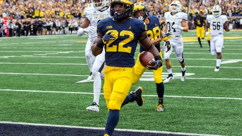 <p>               Michigan running back Karan Higdon (22) scores a 67-yard rushing touchdown in the first quarter of an NCAA college football game against Western Michigan in Ann Arbor, Mich., Saturday, Sept. 8, 2018. (AP Photo/Tony Ding)             </p>