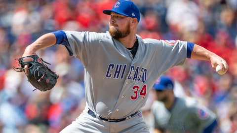 <p>               Chicago Cubs starting pitcher Jon Lester (34) throws in the first inning of a baseball game against the Philadelphia Phillies, Sunday, Sept. 2, 2018, in Philadelphia. (AP Photo/Laurence Kesterson)             </p>