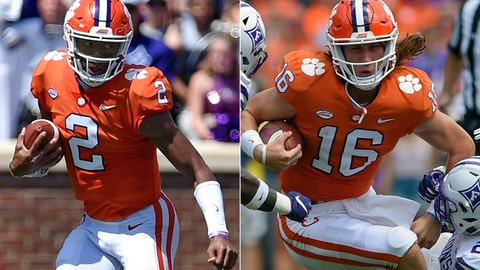 <p>               FILE - At left, in a Sept. 1, 2018, file photo, Clemson starting quarterback Kelly Bryant scrambles out of the pocket during the first half of an NCAA college football game against Furman, in Clemson, S.C. At right, also in a Sept. 1, 2018, file photo, Clemson freshman quarterback Trevor Lawrence (16) is tackled by Furman during the first half of an NCAA college football game in Clemson, S.C.  (AP Photo/Richard Shiro, File)             </p>