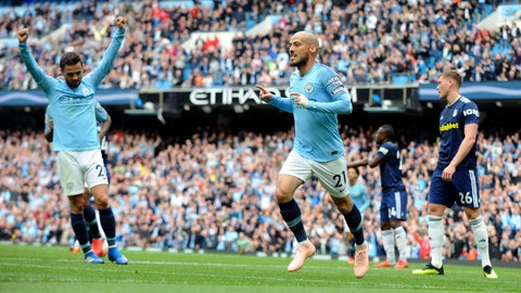 <p>               Manchester City's David Silva, centre, celebrates after scoring his side's second goal during the English Premier League soccer match between Manchester City and Fulham at Etihad stadium in Manchester, England, Saturday, Sept. 15, 2018. (AP Photo/Rui Vieira)             </p>