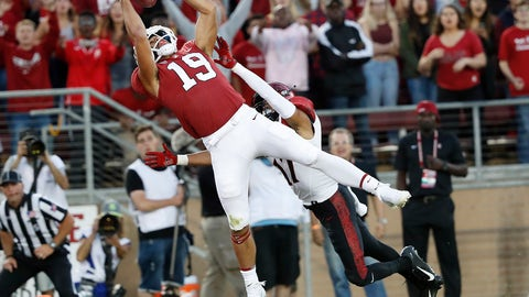 <p>               FILE - In this Friday, Aug. 31, 2018, file photo, Stanford wide receiver JJ Arcega-Whiteside (19) catches a touchdown pass against San Diego State cornerback Ron Smith (17) during the first half of an NCAA college football game in Stanford, Calif. Arcega-Whiteside is perfectly content to let Stanford teammate Bryce Love get all the attention and focus befitting a Heisman Trophy contender. Arcega-Whiteside caught three touchdown passes in the game. (AP Photo/Tony Avelar, File)             </p>