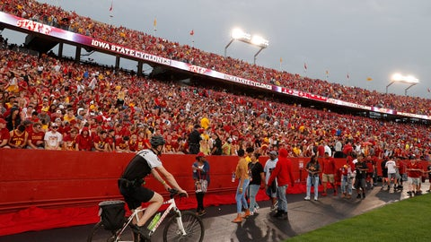 <p>               Fans are asked to leave the stadium after lightning was spotted as Iowas State takes on South Dakota State in an NCAA college football game, Saturday, Sept. 1, 2018, in Ames, Iowa. (AP Photo/Matthew Putney)             </p>