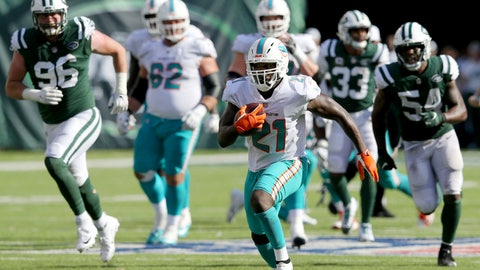 <p>               FILE - In this Sunday, Sept. 16, 2018, file photo, Miami Dolphins running back Frank Gore (21) carries the ball against the New York Jets during an NFL football game in East Rutherford, N.J. Running backs Frank Gore and Oakland's Marshawn Lynch are still going strong in their 30s. The two teams meet on Sunday. (Brad Penner/AP Images for Panini, File)             </p>